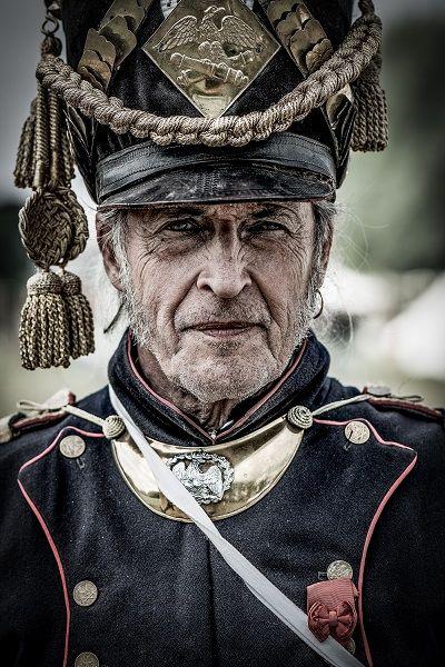 Portretfotografie Commandant bij het naspelen van veldslag