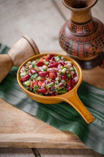Foodfotografie van een Mexicaanse bonen salade
