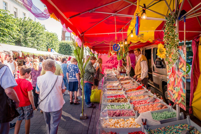 Snoepkraam op de rubensmarkt